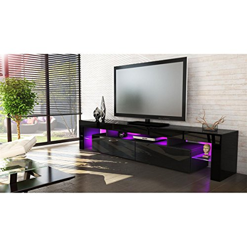 Helios 200 modern tv entertainment unit for living room / tv stand with LED lighting system / Color black and black