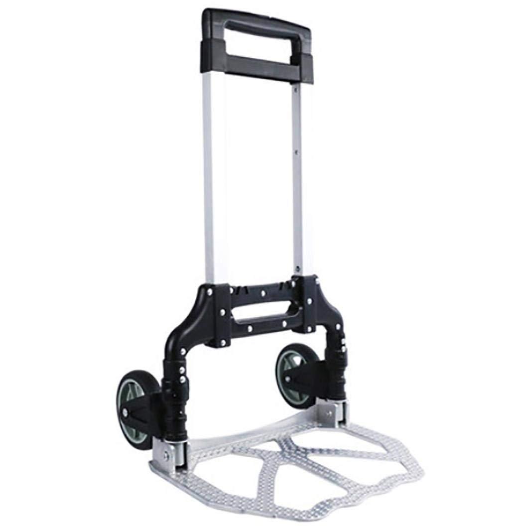 BHXUD Trolley Aluminum Alloy Dolly Easy Fold up Aluminum Folding Sack Barrow/Cart 176.3 lbs,Black