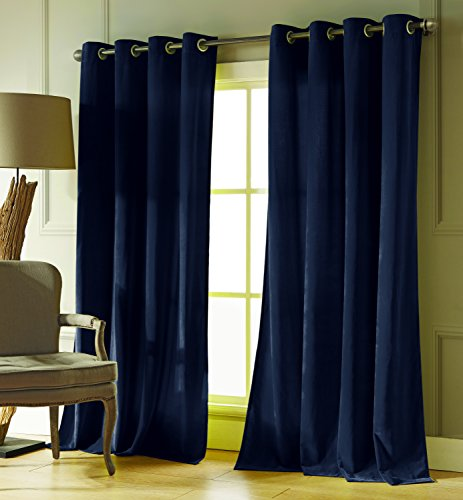 (Duck River Textiles - Home Fashion Velvet Textured Grommet Top Window Curtains for Living Room & Bedroom - Assorted Colors - Set of 2 Panels (54 X 84 Inch - Blue) )