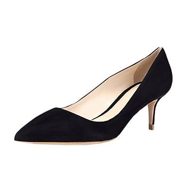 4e360e26cd0 VOCOSI Women s Slip On Kitten Heels Pointed Toe Suede Dress Pumps S-Black  5.5 US
