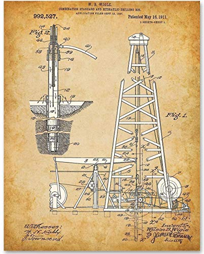 Spindletop Oil Drilling Rig - 11x14 Unframed Patent Print - Makes a Great Gift Under $15 for People in the Oil/Petroleum Business or Office Decor