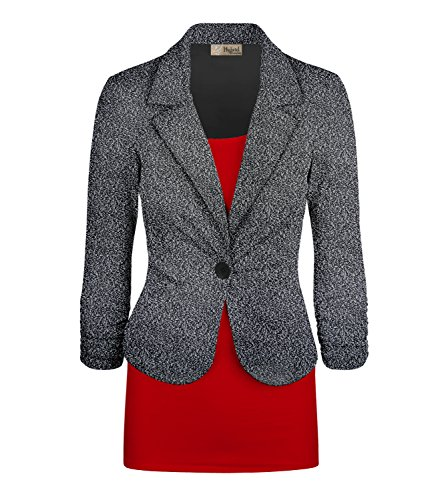 HyBrid & Company Women's Casual Work Office Blazer Jacket JK1131 X 8294 Black/Mult 1X (Blazer Ruched Sleeve)