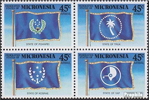 1989 Bandiere Il Bundesstaaten Francobolli per i Collezionisti Completa Edizione Altri argomenti Prophila Collection Mikronesien 119-122 Quartina