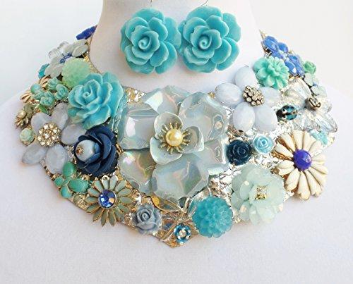 Blue Floral Vintage Collar Necklace Earrings Bracelet Betsey Johnson Flowers (Vintage Bracelet Signed)