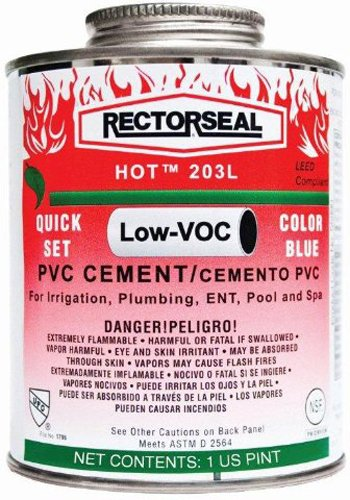 Rectorseal 55990 Pint Hot 203L Medium Body Blue Low Voc Pvc
