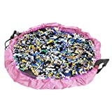 NEWSTYLE Children's Play Mat and Toys Storage Bag - Pink 60inch Kids Playbag Toys Organizer Quick Pouch. Great for Storing Small and Medium Size Toy like LEGOS - Simple, Portable, Sturdy!