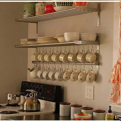 Ikea Grundtal Long 1 Kitchen Shelf, 1 Rail And 10 Hooks Set Stainless Steel