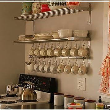 Amazon.com: Ikea Grundtal Long 1 Kitchen Shelf, 1 Rail and 10 ...