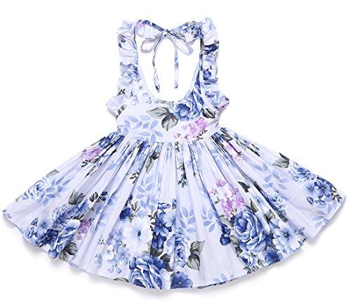 Flofallzique Floral Vintage Toddler Girls Dress Holiday Party Backless Dress for Kids (4, Navy Blue)