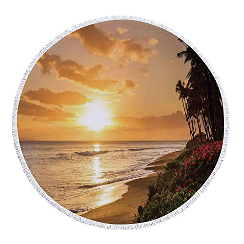 Thick Round Beach Towel Blanket,Hawaiian Decorations,Warm Tropical sunset on Sands of Kaanapali Beach in Maui Hawaii Destination for Travel Decorative,Multi-Purpose Beach Throw by iPrint