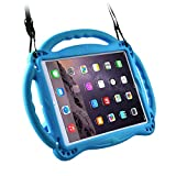 Surom Kids Case for New iPad 9.7 2018/2017- Light Weight Shockproof Silicone Handle Stand Case Cover with Shoulder Strap Lanyard for iPad 9.7 2018/2017/iPad Air/iPad Air 2 - Blue