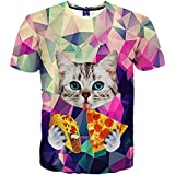 EOWJEED Unisex 3D Cute Cat Printed Round Neck Short Sleeve T Shirts - Large