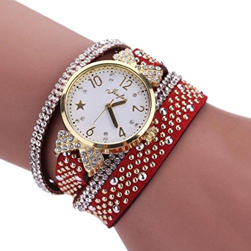BCDshop Bracelets Watch for Women, Ladies Teen Girls Fashion Leisure Multilayer Quartz Watch Crystal Diamond Rhinestones Wrist Watch (Red, Alloy) ()