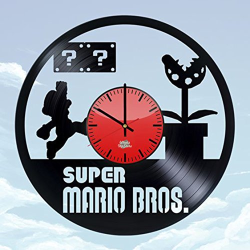 WhatsUp Store Super Mario Game Design Vinyl Record Wall Clock - Wonderful Play Room Wall Art Decoration - Fancy Gift idea for Teens, Boys or Girls ()