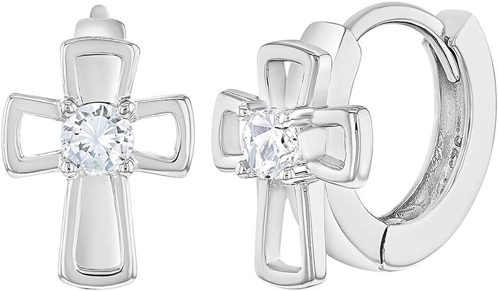 """925 Sterling Silver Cross Huggie Hoop Earrings for Girls Clear CZ Open 0.39"""""""