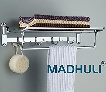 MADHULI Exclusive High Grade Stainless Steel Folding Towel Rack with Combo