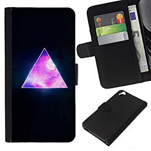 KLONGSHOP // Tirón de la caja Cartera de cuero con ranuras para tarjetas - Pirámide Espacio Cosmos Universo de la galaxia Triángulo - HTC Desire 820 //