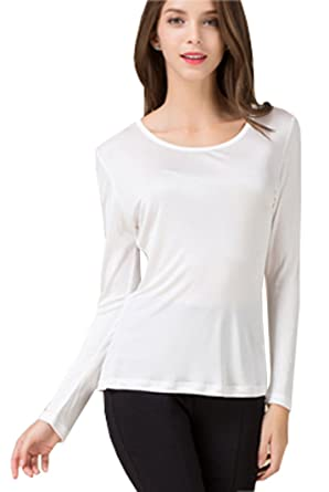 16fec7273023e METWAY Women s Silk Shirt Crew Neck Long Sleeves Pure Silk Blouse Small  White