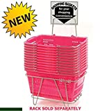 12 Pc New Pink Hand Held Jumbo Shopping Basket 20''W x 13.75''D x 10''H
