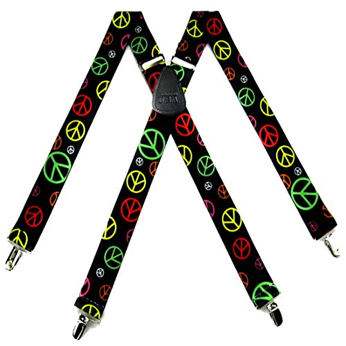 (SUS-306-SING - Black - Yellow - Pink - Green - Peace Signs Clip)