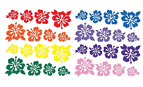 - 32 Hibiscus Flowers Assorted Sizes - Make Your Own Flower Lei Stickers Garland Decal Hawaii Rainbow