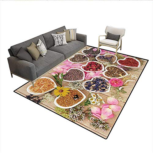 - Carpet,Healing Herbs Heart Shaped Bowls Flower Petals on Wooden Planks Print Healthcare,Area Silky Smooth Rugs,MulticolorSize:5'x7'