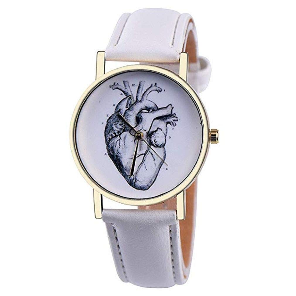 Scpink Mujeres Corazón Patrón Liquidación Relojes analógicos para Mujer Relojes de niña Relojes de Cuero para Mujeres (Blanco): Amazon.es: Relojes