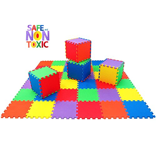 Non-Toxic 36 Piece, 10mm Children Play & Exercise Mat - Puzzle Play Mat for Kids & Toddlers, 6 Vibrant Colors by Play Platoon