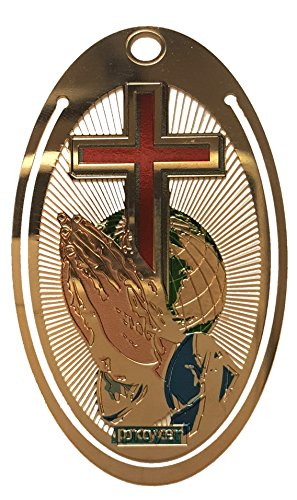 """Praying hands and the World Globe Background Metal Bookmark Laser etched Gold Plated 1.5"""" x 2.5"""" Oval Shape"""