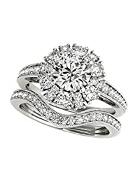 Pretty Jewellery Cluster Flower Bridal Ring Set in Round Diamond 14K White Gold Over Sterling Silver