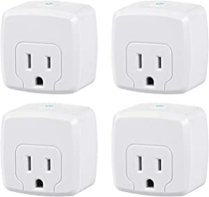 HBN Mini Smart WiFi Plug, Heavy Duty Wi-Fi Timer with One Grounded Outlet, Wireless Remote Control by App Compatible with Alexa/Google Home Assistant 2.4 GHz Network only, ETL Listed (4 Pack)