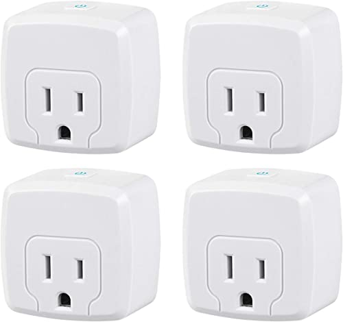 HBN Mini Smart WiFi Plug, Heavy Duty Wi-Fi Timer with One Grounded Outlet, Wireless Remote Control by App Compatible with Alexa Google Home Assistant 2.4 GHz Network only, ETL Listed 4 Pack
