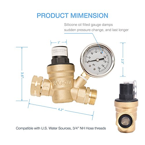 RVAQUA M11-45PSI Water Pressure Regulator for RV Camper - Brass Lead-Free Adjustable RV Water Pressure Reducer with 160 PSI Gauge and Inlet Stainless Screened Filter by Kozyvacu (Image #3)