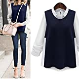 Sikye Women Plus Size Loose Stand Collar Pullover Long Sleeve Crop Patchwork Shirt Blouse (3xl)