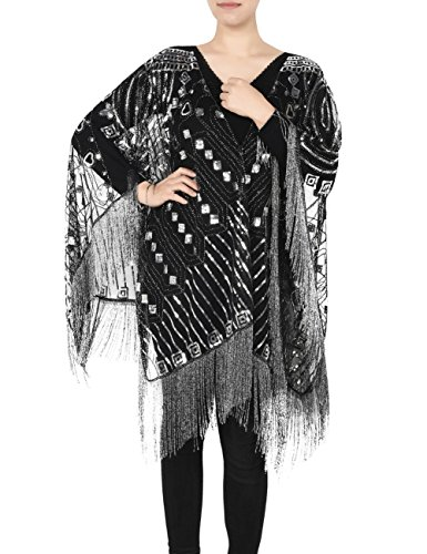 Kayamiya 1920s Shawl Wraps Beaded Evening Cape Bridal Shawl for Evening Dresses Wedding Party Black Silver (Beaded Evening Wear)