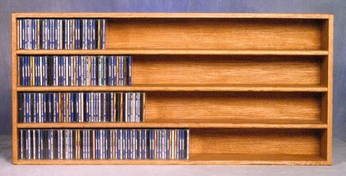 Wall Mount CD Storage w 4 Shelves (Honey Oak)