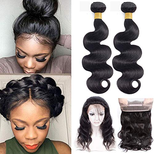Pre Plucked 360 Lace Frontal With Bundles Brazilian Body Wave with Frontal Closure with Baby Hair 8A Unprocessed Brazilian Human Hair Bundles with Closure(18 20 with16'' 360 Frontal Closure) (Pre Plucked 360 Lace Frontal With Bundles)