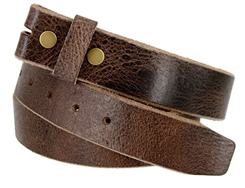 Genuine One Piece Full Grain Vintage Buffalo Leather Belt Strap (Buffalo Buckle)