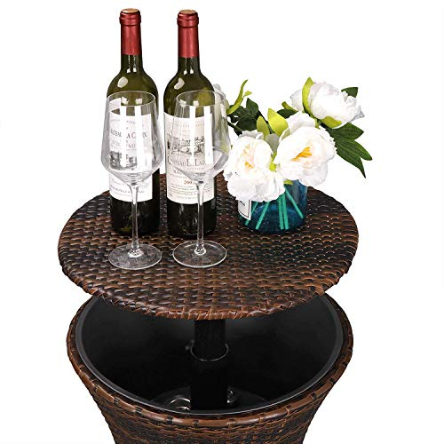 HomGarden Cool Bar Rattan Style Outdoor Patio Cooler Table with Ice Bucket Cocktail Coffee Cooler Table All in One for Party, Pool, Patio, Deck, Backyard by HomGarden (Image #3)