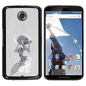 YOYOYO Smartphone Protección Defender Duro Negro Funda Imagen Diseño Carcasa Tapa Case Skin Cover Para Motorola NEXUS 6 X Moto X Pro - muchacha del arte de la moda vestido de dibujo gris