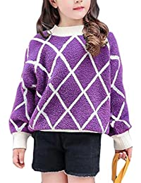 c137311316 Big Girls  Crewneck Knitted Plush Lovely Striped Pullover Jumper Sweaters