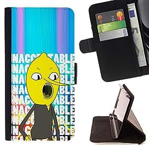 BullDog Case - FOR/Apple Iphone 5 / 5S / - / unacceptable text comic character /- Monedero de cuero de la PU Llevar cubierta de la caja con el ID Credit Card Slots Flip funda de cuer