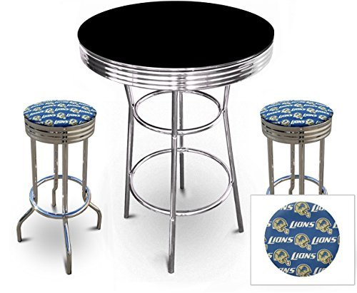 "3 Piece Pub/Bar Table Set with 2 – 29"" Swivel Stools Featuring Your Favorite Football Team Themed Seat Cushions (Lions Pub Table)"