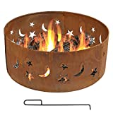 Sunnydaze Fire Pit Ring, Heavy Duty, Outdoor Above or in-Ground, Rustic Stars and Moon, 30 Inch