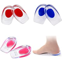 BHAHAI 3 Pairs Gel Heel Cups, Silicone Clear Orthotic Heel Cup Support Pads Cushions Gel Heel Pads Shoe Inserts Insoles for Women Plantar Fasciitis Heel Spur & Achilles Pain Relieve