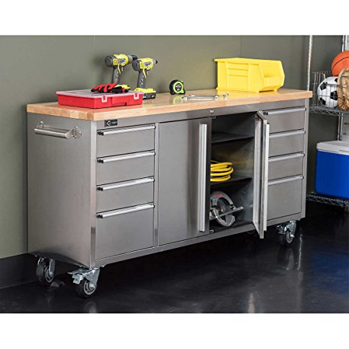 TRINITY 72' Stainless Steel Rolling Workbench