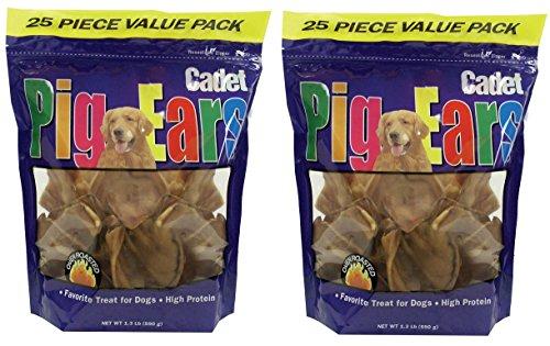 (2 Pack) Cadet Pig Ears - Dog Chews, 25 each ()
