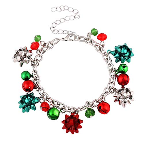 ALEXY Christmas Bracelets for Women X-Mas Gift Bow Charm Bracelets Jingle Bell Link Bracelets for Girls Kids (D Silver Bell)