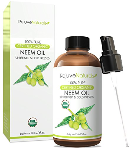 [Organic Neem Oil, 100% Pure, Cold Pressed, USDA Certified Organic by RejuveNaturals, 4oz | For Hair, Skin & Nails | All Natural Anti Aging Moisturizer, Antiseptic, Insecticide & Fungicide] (Neem Seed Oil)