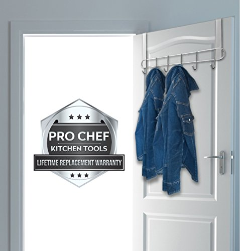 Pro Chef Kitchen Tools Over The Door Hook - General Purpose Storage Racks - 6 Coat Hooks - No Drill Towel Rack for Bathroom Storage Closet - Behind The Door Organizer Clothes Rack - Key Broom Hanger by Pro Chef Kitchen Tools (Image #3)